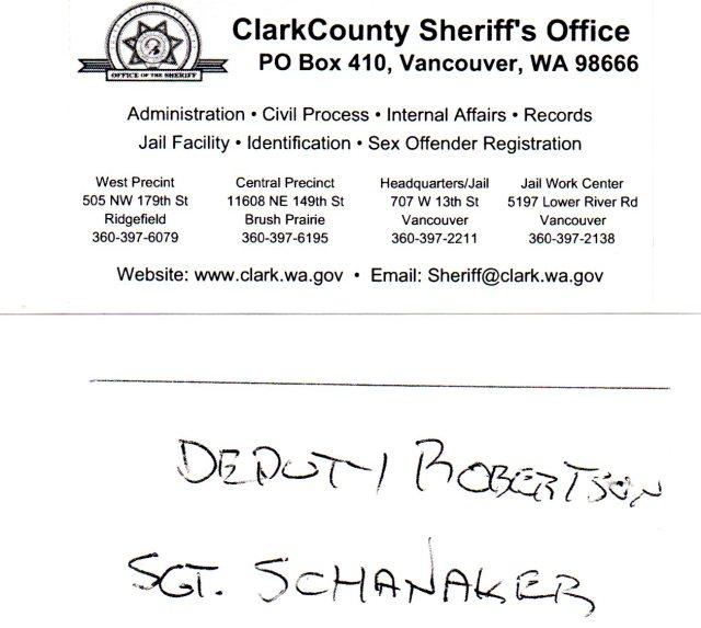 Deputy Robertson and Sgt Schanaker 423