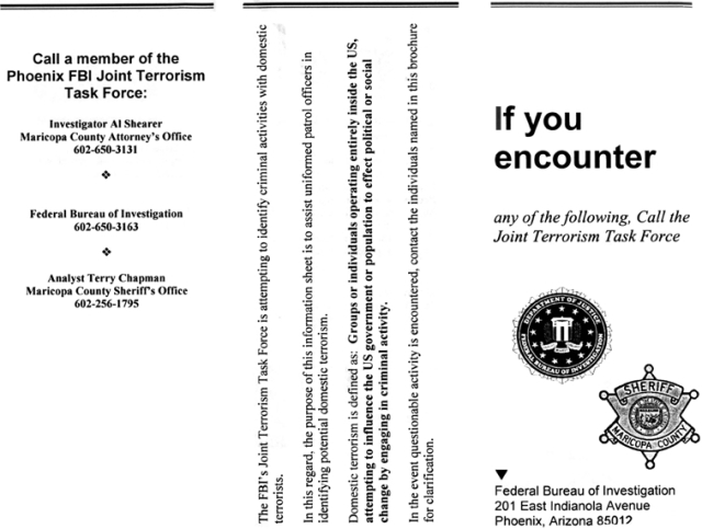 "FBI-MCSOT FLYER ON TERRORISM AND ""POTENTIAL TERRORISTS"""