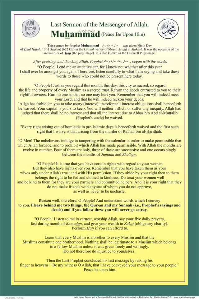 last sermon PROPHET MUHAMMAD