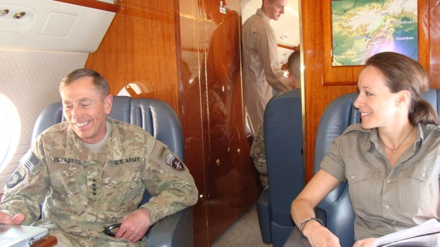 """Petraeus on his personal aircraft with his personal aides and personal """"biographer""""/toady/mistress/cheerleader"""