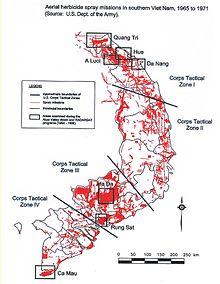 Areas sprayed with Agent Orange in Vietnam 1965-71