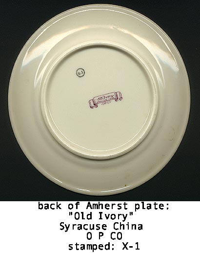 AMHERST CHINA plate_back