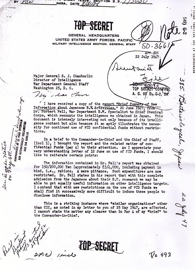 CBW Top Secret Letter  7-22-1945 doc page 1 of 2