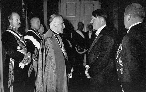 """on July 14, 1933, the Vatican and the Nazi government signed a Concordat, putting their official stamp on an alliance between the Catholic Church and the Nazi Fascist State. Article 16, required that the Catholic bishops """"swear and promise before God and on the Holy Gospels"""" to honor the Nazi Reich, and to make the clergy of the diocese do the same, and to hunt for to avoid all detrimental acts which might endanger it. By drafting and signing the Concordat, the Vatican had literally ordered German Catholics to support the Nazis, telling millions of Catholics not only in Germany but worldwide that the Pope was allies with fascism, and that they should ally with it as well. Catholics were to avoid all subversive or illegal activities against the Nazi government. In the Reichskonkordat, the Vatican had promised that the German Catholic school educators would teach the children to love the Nazi state (Article 21)."""