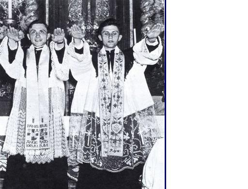 Ratzinger aka ex-Pope Benedict XVI with fellow Cathoic seminarians giving Nazi salute and pledging allegiance to the Nazi State and Adolf Hitler upon graduation